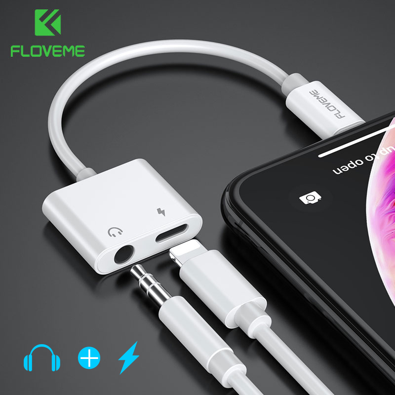 FLOVEME 2in1 Adapter For IPhone 7 8 Plus X XS MAX Audio Charge Splitter Converter To 3.5mm Jack Headphone Adapter