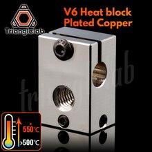 Trianglelab PT100 V6 도금 구리 열 블록 E3d V6 용 Hotend 3D 프린터 가열 블록 센서 카트리지 용 BMG Extruder TItan
