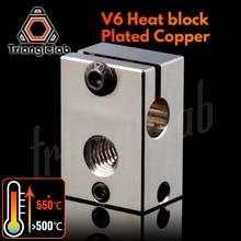 Trianglelab PT100 V6 מצופה נחושת חום בלוק עבור E3d V6 Hotend 3D מדפסת מחומם בלוק עבור חיישן מחסנית BMG מכבש טיטאן