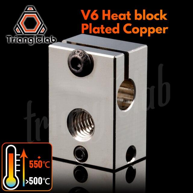 Trianglelab bloc chauffant en cuivre plaqué V6, bloc chauffant pour imprimante 3D E3d V6 Hotend, pour cartouche, extrudeuse BMG TItan