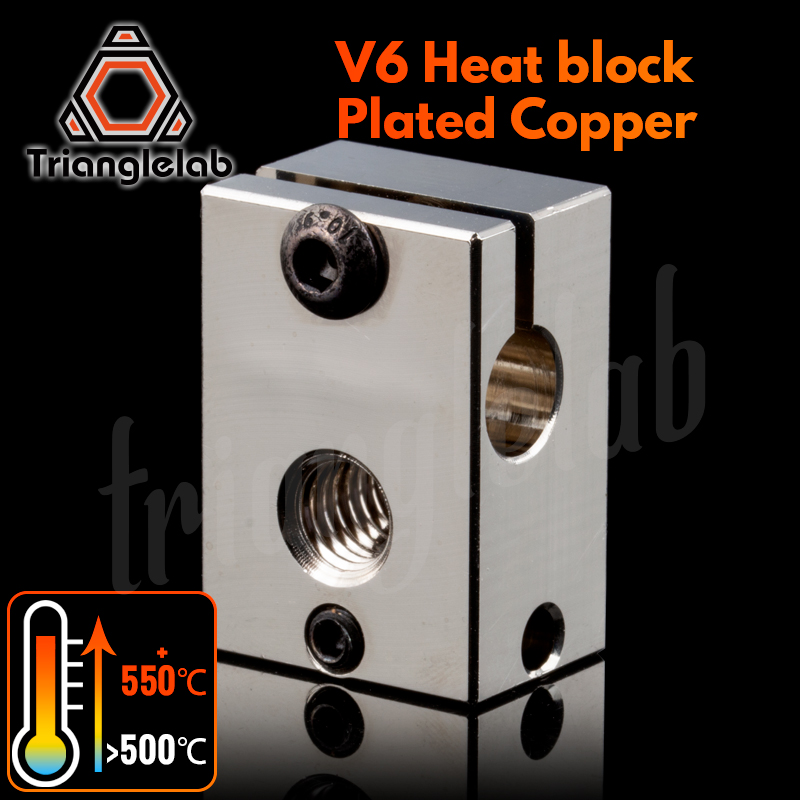Trianglelab PT100 V6 Plated Copper Heat Block For E3d V6 Hotend 3D Printer HeateD Block For Sensor Cartridge BMG Extruder TItan