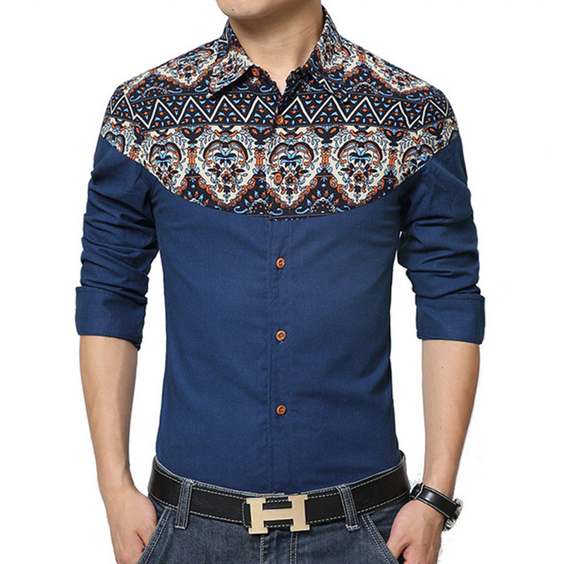 Fashion brand mens shirt 2018 new style long sleeve print for In style mens shirts