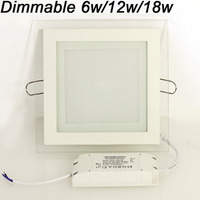 Dimmable LED Panel Downlight Square Glass Panel Lights High Brightness Ceiling Recessed Lamps For Home