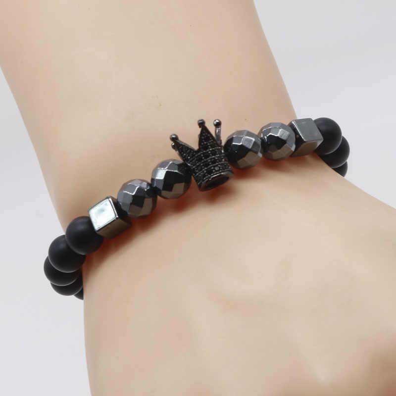 a97b6aba4a2 ... 2018 Luxury Royal Crown Bracelet Men Black Stone Spiritual Bead  Bracelets For Men Best Friend Gift