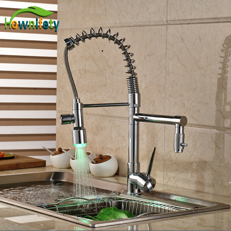 Kitchen Pull Down Spray Dual Spouts Chrome Single Handle Sink Faucet Hot&Cold Mixer Tap LED Light kitchen pull down spray chrome sink faucet single handle swivel mixer tap