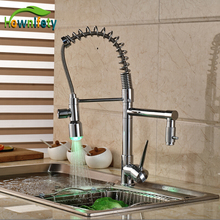 Kitchen Pull Down Spray Dual Spouts Chrome Single Handle Sink Faucet Hot Cold Mixer Tap LED
