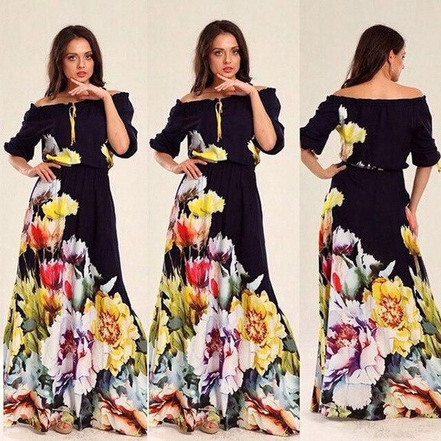 Off Shoulder Boho Clothing Bohemian Strapless Long Maxi Dress Summer Slash Neck Flora Chiffon Women Tunic