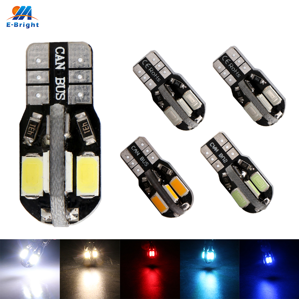 <font><b>10PCS</b></font> <font><b>T10</b></font> W5W Led <font><b>Canbus</b></font> 5730 8 SMD Error free 12V DC NO ERROR White Blue Red Green PINK Ice Blue Warm White Car Auto Styling image