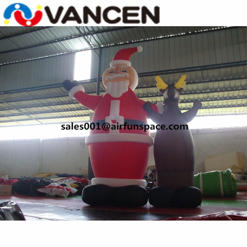 Merry Рождество надувные игрушки 3mH надувной Санта Клаус с оленем открытый украшения надувной Рождественский олень