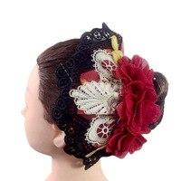 Woemn Black Red Ballet Headwear For Don Quix, Ballet Tiaras Headband Latin Dance Red Flower Headwear