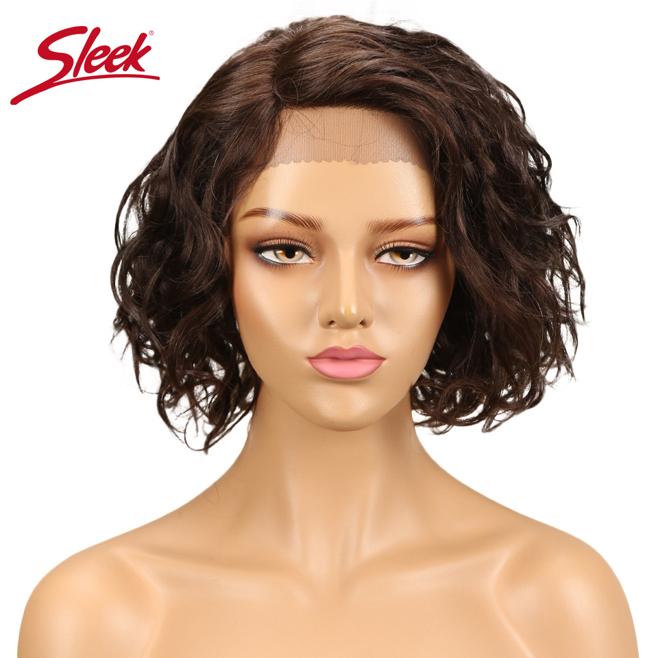 Sleek Water Wave Lace Front Human Hair Wigs For Black Women Short Bob Wig Brazilian Curly Human Hair Lace Wig Free Shipping