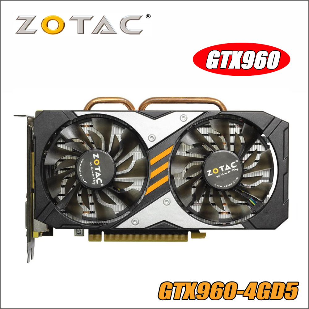 Оригинал ZOTAC видеокарта GPU GTX960 4GD5 128Bit GDDR5 GM206 PCI-E Графика карты для NVIDIA GeForce GTX 960 4 ГБ 1050 ti 1050ti