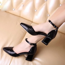 Personality Weaving Cowhide Patent Leather Pointy Toe Belt Buckle 6 CM Thick Heels Women Pumps Shoes Black White Pink Footwear