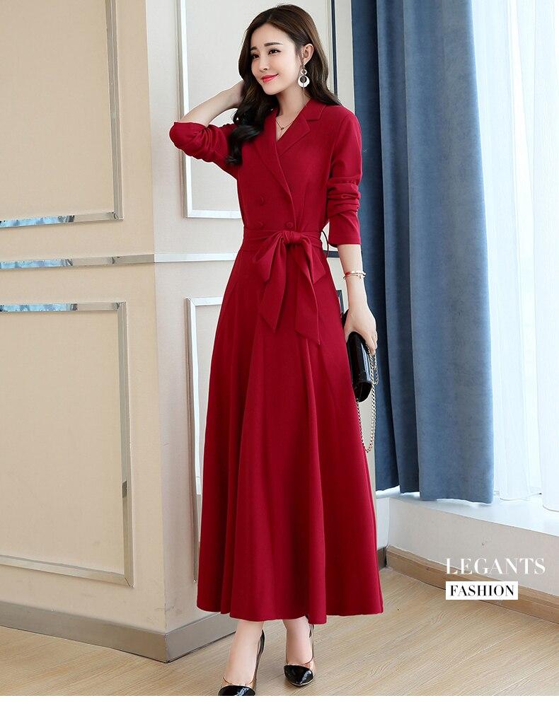Spring and Autumn 2019 New Women's Dresses Korean Edition Long Sleeve Dresses Overlap Long Popular Temperament with Bottom 130