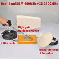 3G gsm repeater GSM 2G 3G repeater dual band cell phone signal booster amplifier GSM900+WCDMA2100 full kits antenna