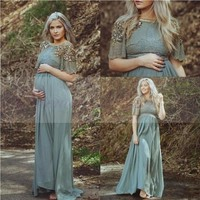 Teal Chiffon Long Maternity Evening Dress 2016 Turkish Islamic Muslim Formal Evening Gowns Party Prom Dresses