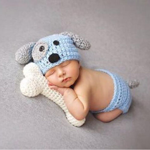 06c890c83 US $5.05 30% OFF|Dog Bone Newborn Photography Props Knitted Newborn Hat  Baby Fotografia Crochet Winter Cap Accessories for 0 3 Months-in Hats &  Caps ...