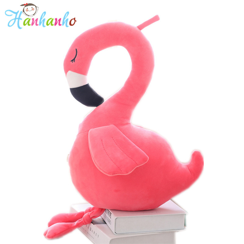 Cute Flamingo Plush Toy Red Bird Stuffed Animal Kids Birthday Gift Christmas Present Soft Cushion Kids Pillow 1pc 65cm cartion cute u shape pillow kawaii cat panda soft cushion home decoration kids birthday christmas gift