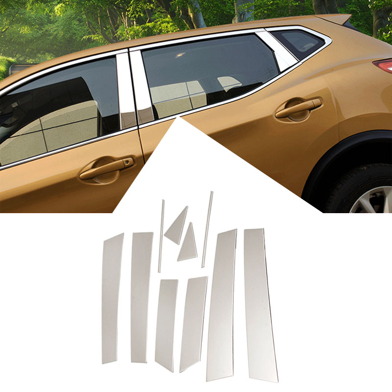 ABAIWAI Stainless Steel Car Window Stickers For Nissan Qashqai Pillar Post Cover Trim Molding Garnish Accent 2014 to 2016 10pcs for vauxhall opel astra j 2010 2014 stainless steel window frame moulding trim center pillar protector car styling accessories