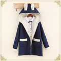 TIC-TEC women Wool Blends thick warm autumn winter coats loose with hooded solid color lambswool jacket P3028