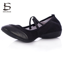 Ballet Shoes Woman Practice Dancing Shoes Ballroom Latin Dance Shoes Modern Rumba Salsa Point Heel Square Genuine Leather Shoes