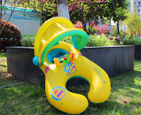 Inflatable Baby Swim Seat Float Swimming Pool Circle Mother And Baby Sunshade Swim Float Circle Ring With Sunshade
