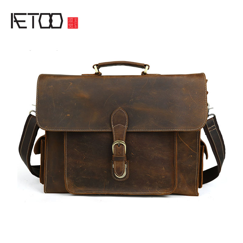 AETOO Europe and the United States retro first layer of mad horse skin men's business briefcase leather shoulder bag 15-inch com united states production of amway