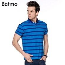 Batmo 2017 new arrival summer high quality Bamboo Fiber Breathable striped casual polo shirt men,size M.L.XL.XXL.XXXL 4 color