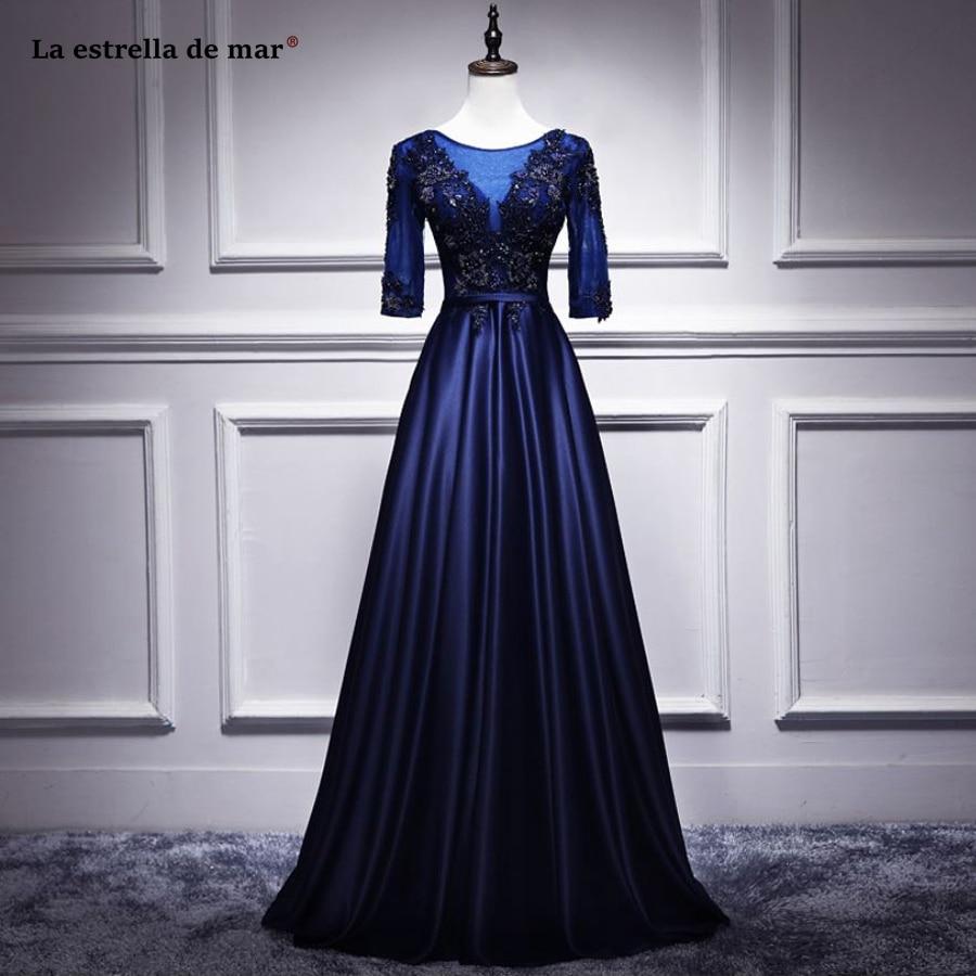 la estrella de mar robe demoiselle d 39 honneur scoop neck lace crystal half sleeve a line navy
