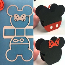 1PCS Lovely Mickey Minnie box cutting die+1PCS carft Tag Stencil For DIY Scrapbook Paper Card Decorative Craft Embossing Die Cut