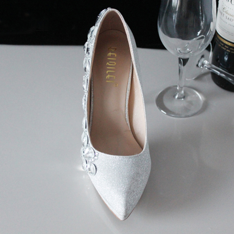 Fashion Elegant Modest Party Wear Bridal Shoes Low Heel Shoes Silver  Crystal Bling Bling Wedding Dresses Shoes-in Women s Pumps from Shoes on  Aliexpress.com ... e4fb86d42df5