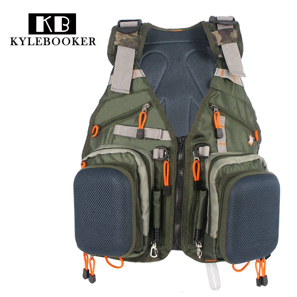 Army green adjustable fly fishing vest pack multifunction for Best fishing vest