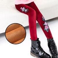 Free Shipping Winter Velvet Girls Leggings Pants Flower Children Clothing Fitness Legging Fashion Girl Kids Baby