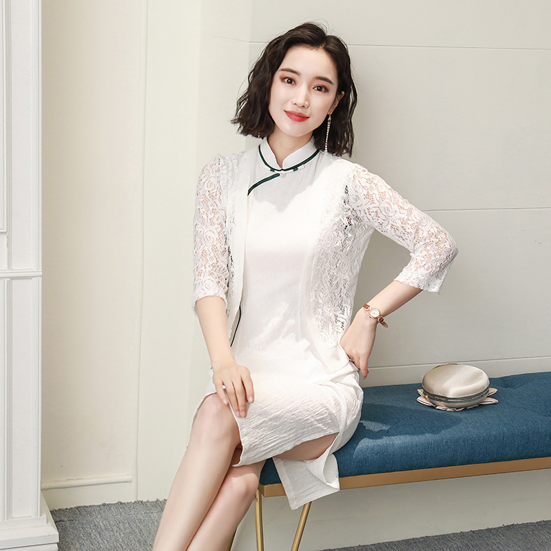 White Summer Ramie Chinese Style Dress Vintage Ladies Short Qipao Classic Stage Show Elegant Female Cheongsam Size S XXXL