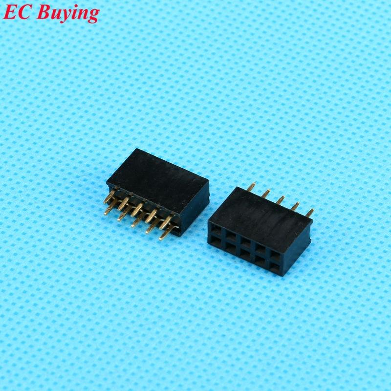 20pcs/lot 2X5 Pin Double Row Female 5P 2.54mmStraight Header Pitch Socket Strip ...