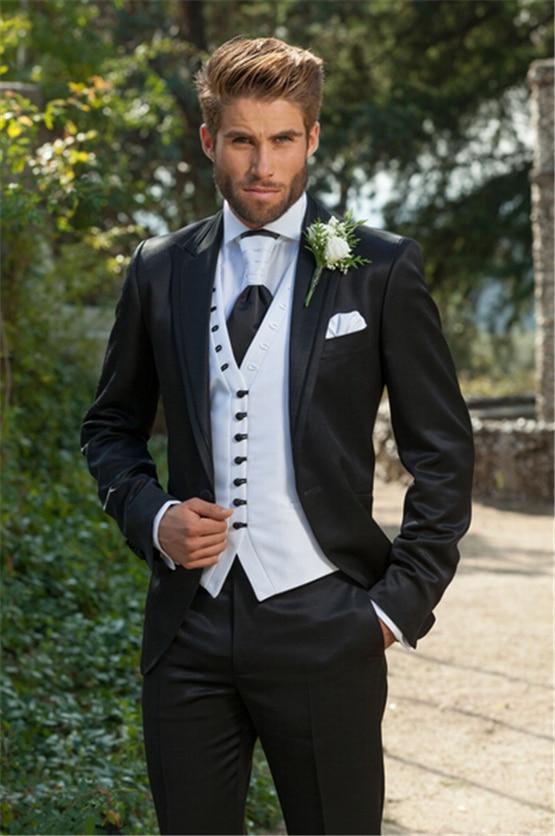 aad20056734c Último abrigo pantalones diseños italiano negro blanco trajes de ...