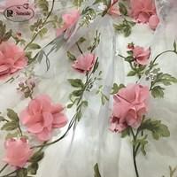 1M/Lot Chiffon,   Lace  , Eugen Yarn, Hand Applique Fabric, Embroidery Flower Dress, DIY Wedding Dress FabricRS1307
