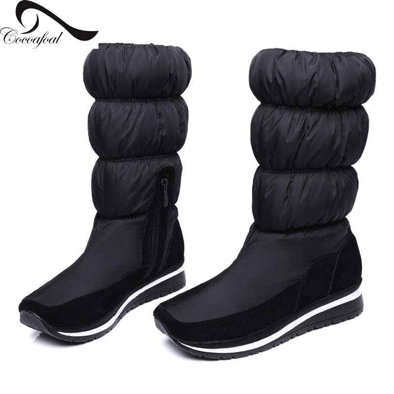 ФОТО cow made of suede+waterproof fabric 2017 warm Thick Plush Muffin bottom  High quality boots Comfortable  Abrasion resistance