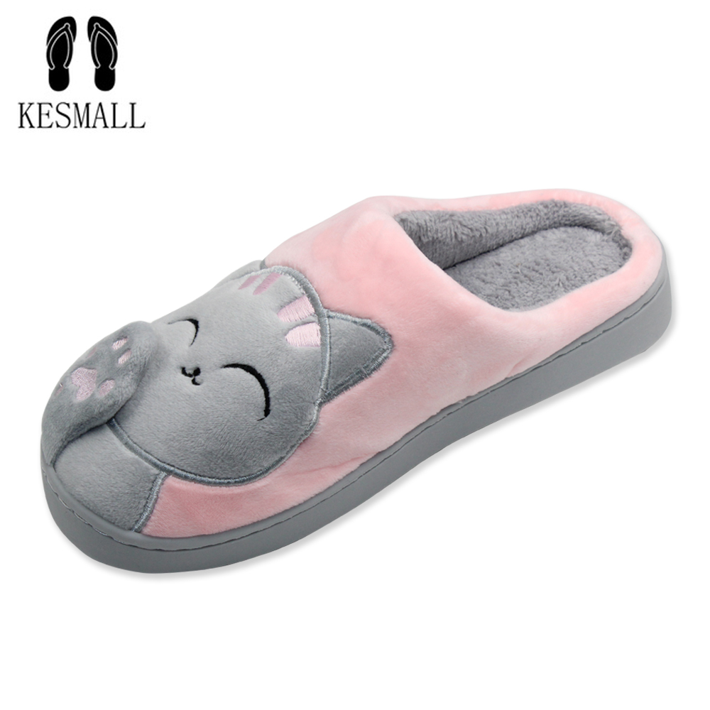 Women Winter Home Slippers Cartoon Cat Home Shoes Non-slip Soft Winter Warm Slippers Indoor Bedroom Loves Couple Floor Shoes S3 plush home slippers women winter indoor shoes couple slippers men waterproof home interior non slip warmth month pu leather