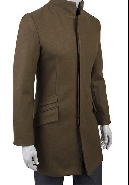 2019 green brown black Korean teenage stand collar wool coat men trench jackets mens wool coats