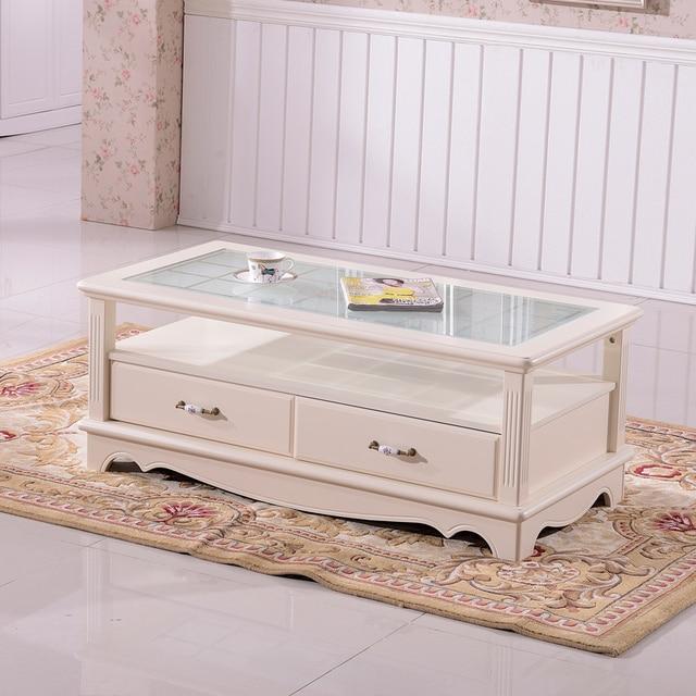 European Style Glass Coffee Table TV Cabinet Drawers Korean Ivory Wood  Combination Teasideend
