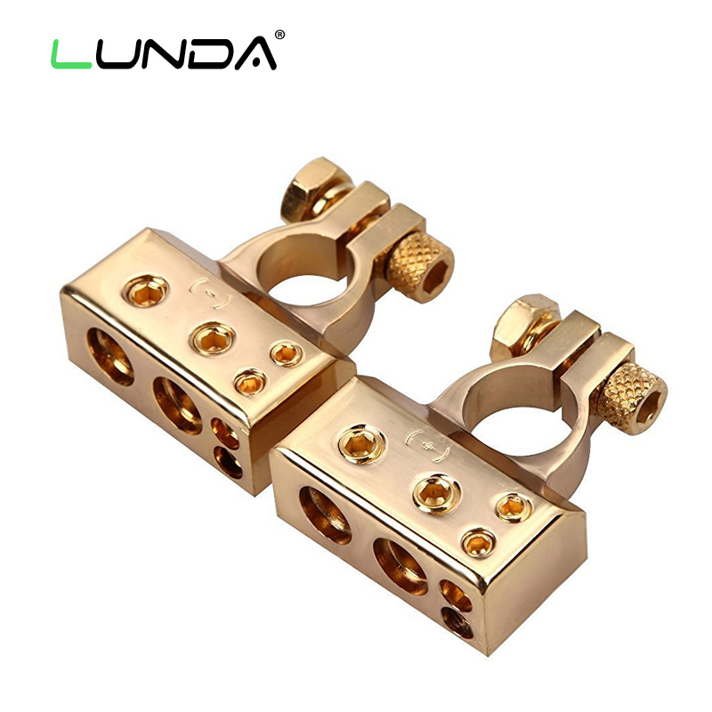 LUNDA Gold plated Car font b Battery b font Terminal Positive negative Car font b battery