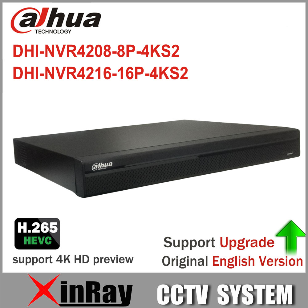 Dahua 4K NVR Original English Version NVR4208 8P 4K With 8PoE Port Support 4K H 265
