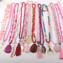 الجملة موضة 15 قطعة لون المزيج الوردي قلادة مجوهرات النساء اليدوية