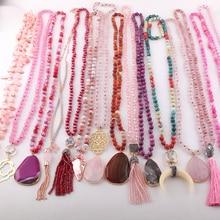 Di Modo del commercio allingrosso 15 pc di Colore Della Miscela di Rosa Fatti A Mano Collana Dei Monili Delle Donne