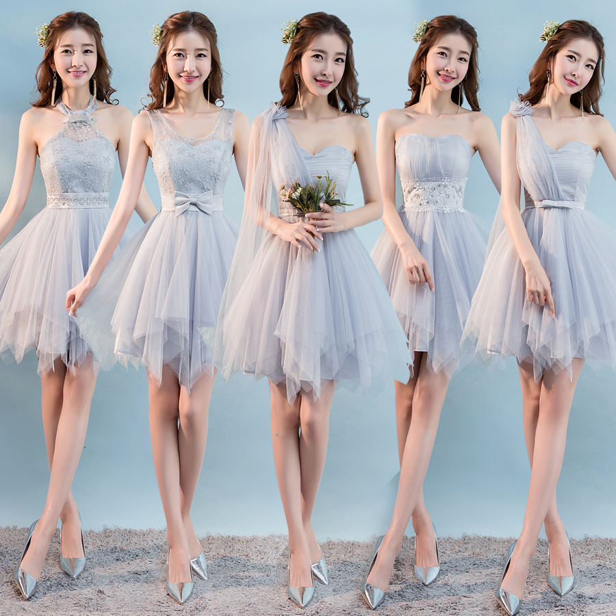 Champagne Short A line Knee Length Chiffon Lace Bridesmaid Dresses ...
