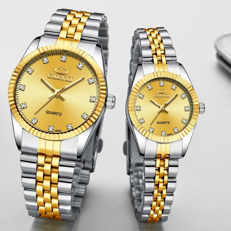 CHENXI Top Brand Lovers' Couples Quartz Men Watch Women Valentine Gift Clock Watches Ladies 30m Waterproof Wristwatches