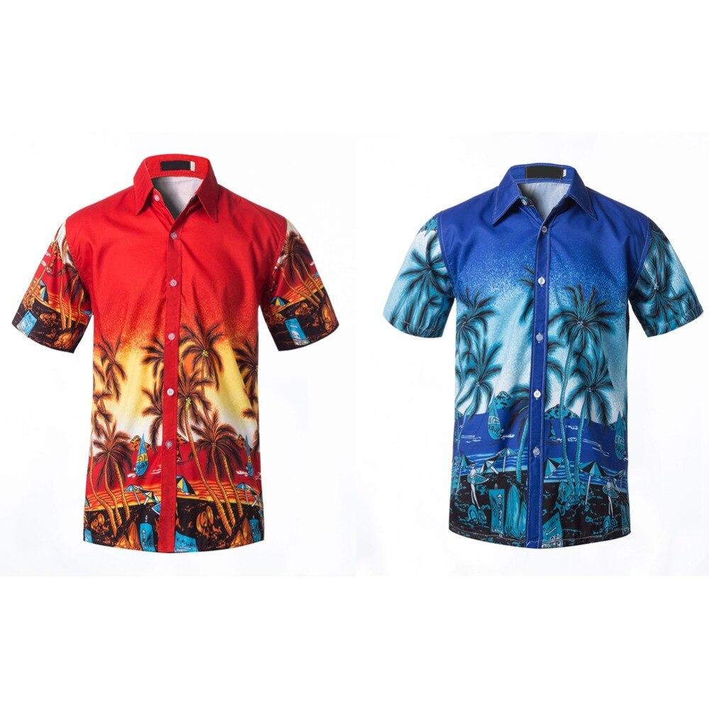 2019 New Summer Mens Short Sleeve Beach Hawaiian Shirts Cotton Casual Floral Shirts Regular Plus Size 3XL Mens clothing Fashion in Casual Shirts from Men 39 s Clothing