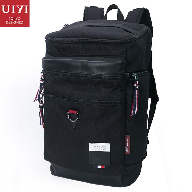 UIYI Men Polyester PU Leather Backpack For Men School College Satchel Rucksack Travel 14 Inch Laptop Bags With Zip Cover 160083 14 15 15 6 inch flax linen laptop notebook backpack bags case school backpack for travel shopping climbing men women
