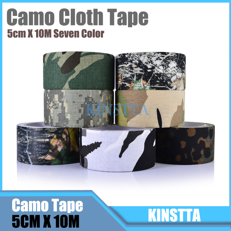 Hlurker 10m Adhesive Cotton Bionic Waterproof Camouflage Cloth Duct Tape Camo Stealth Tape Wrap For Guns Camera Outdoor Tools Клейкая лента